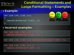 conditional statements and loops formatting examples