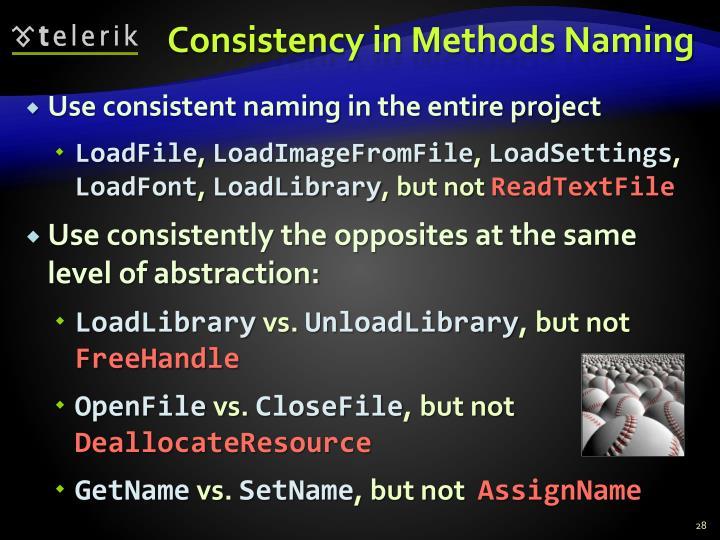 Consistency in Methods Naming