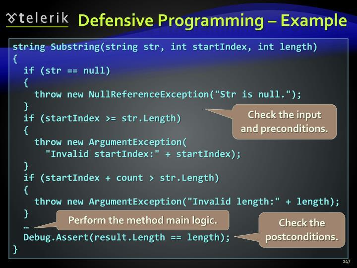 Defensive Programming – Example