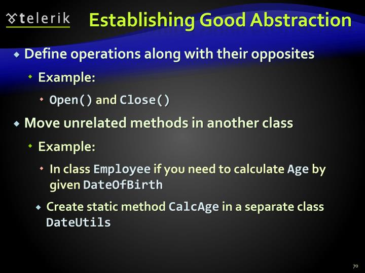 Establishing Good Abstraction