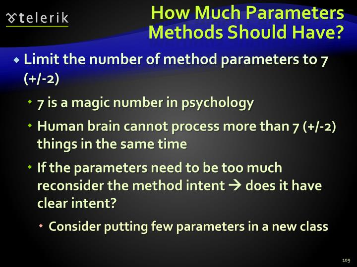 How Much Parameters Methods Should Have?