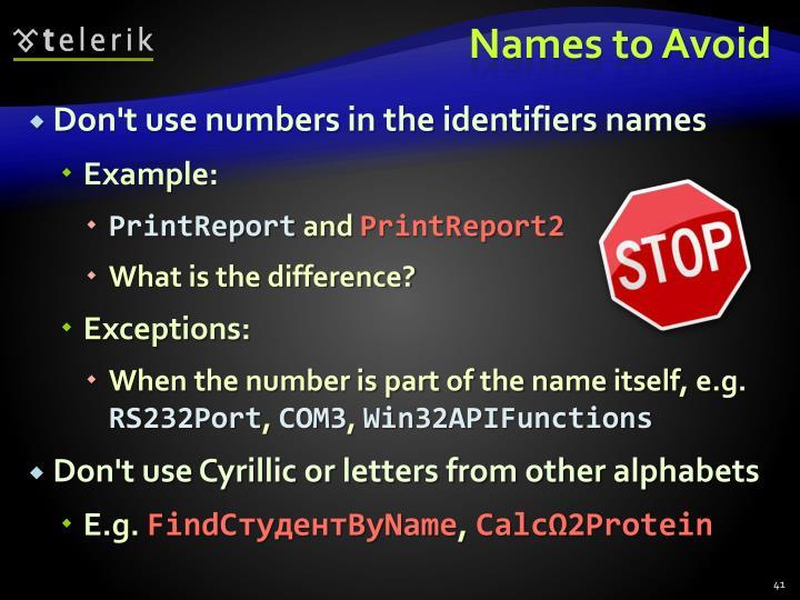 Names to Avoid