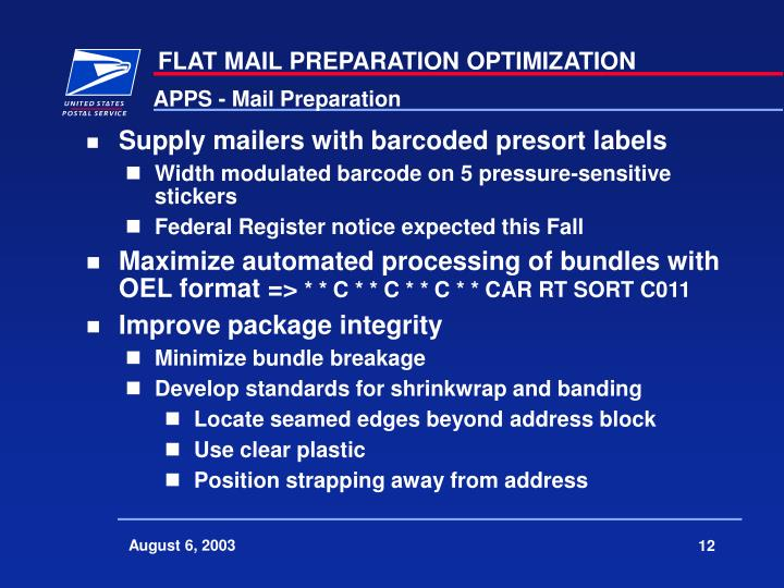 APPS - Mail Preparation