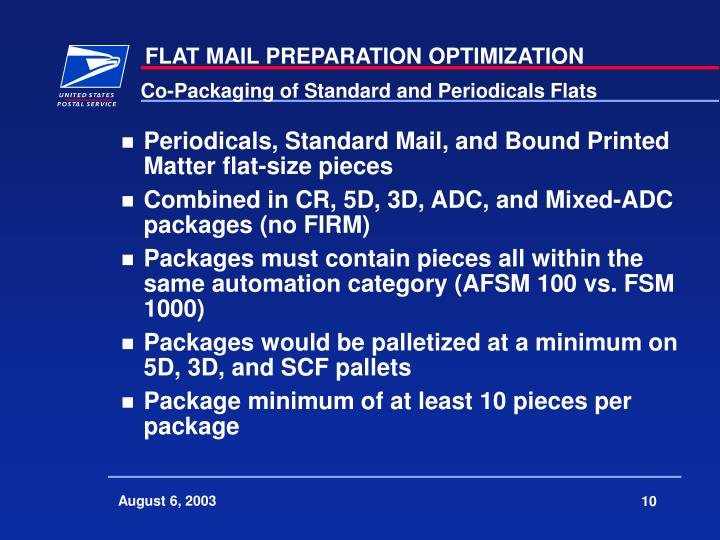 Co-Packaging of Standard and Periodicals Flats