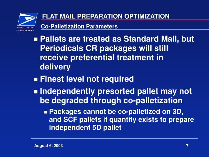 Co-Palletization Parameters