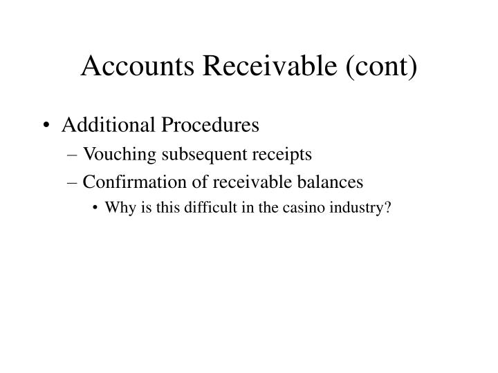 Accounts Receivable (cont)