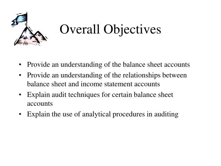 Provide an understanding of the balance sheet accounts