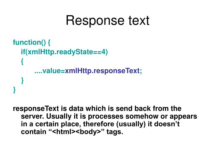 Response text