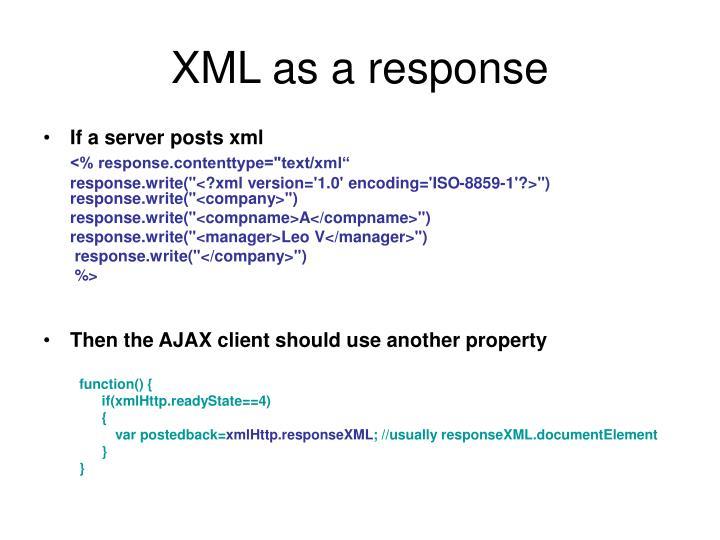 XML as a response