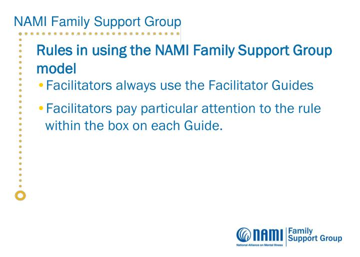 Rules in using the NAMI Family Support Group model