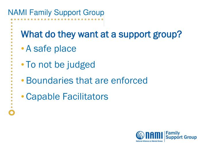 What do they want at a support group?