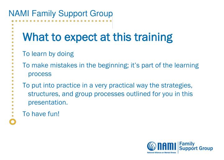 What to expect at this training