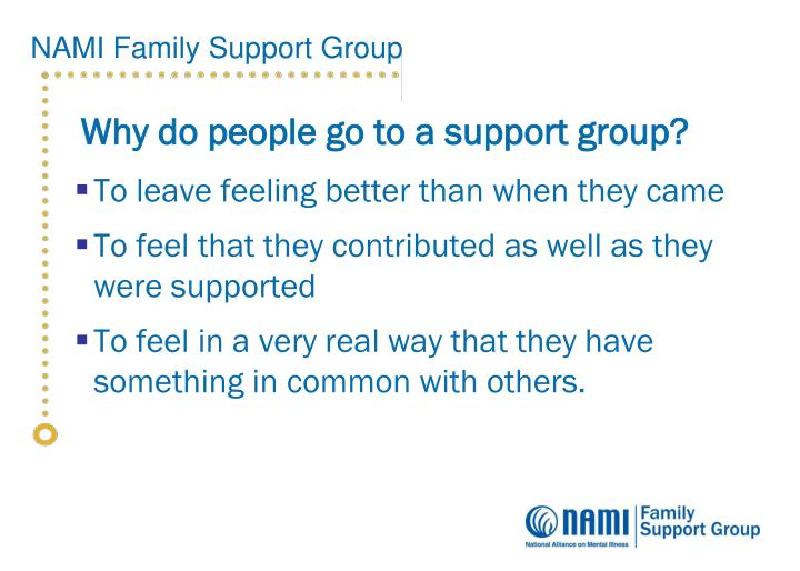 Why do people go to a support group?