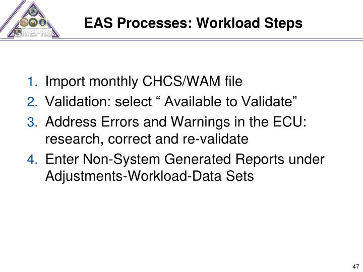 EAS Processes: Workload Steps