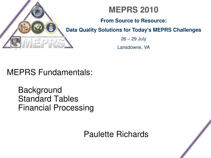 Meprs fundamentals background standard tables financial processing paulette richards