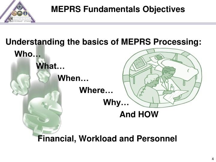 MEPRS Fundamentals Objectives