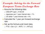 example solving for the forward european terms exchange rate