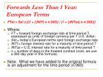 forwards less than 1 year european terms
