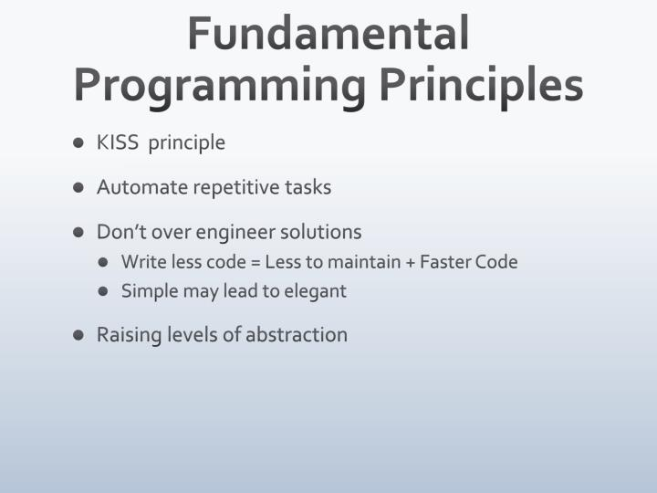Fundamental Programming Principles