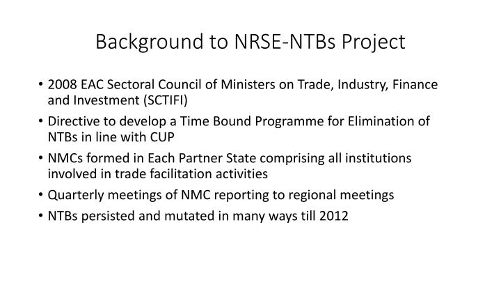 Background to NRSE-NTBs Project