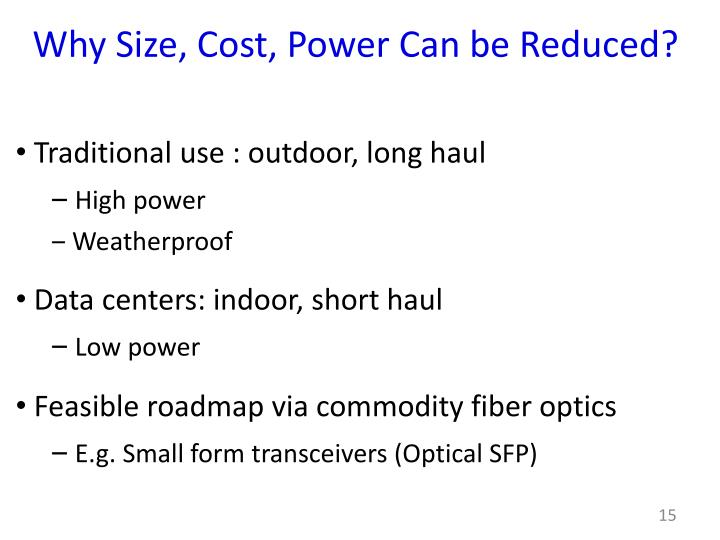 Why Size, Cost, Power Can be Reduced?