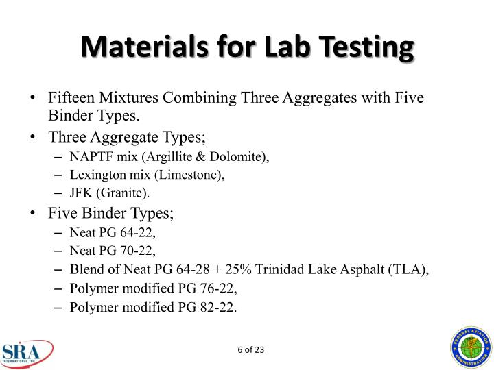 Materials for Lab Testing