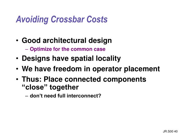 Avoiding Crossbar Costs