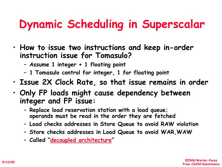 Dynamic Scheduling in Superscalar
