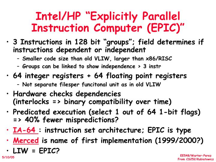 """Intel/HP """"Explicitly Parallel Instruction Computer (EPIC)"""""""