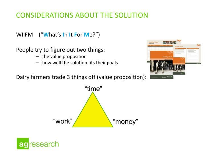 Considerations about the solution