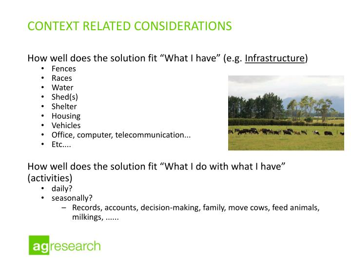 context related considerations