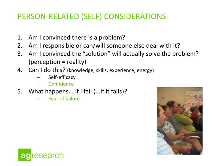 person-related (self) considerations