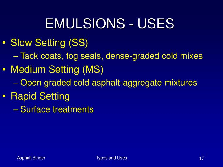 EMULSIONS - USES