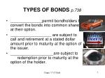 types of bonds p 7382