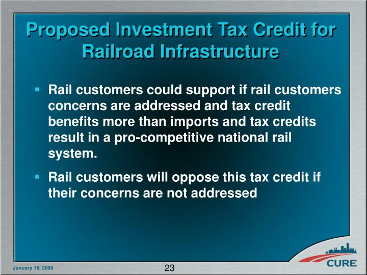 Proposed Investment Tax Credit for Railroad Infrastructure