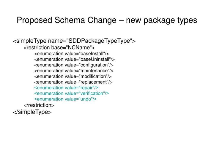 Proposed Schema Change – new package types