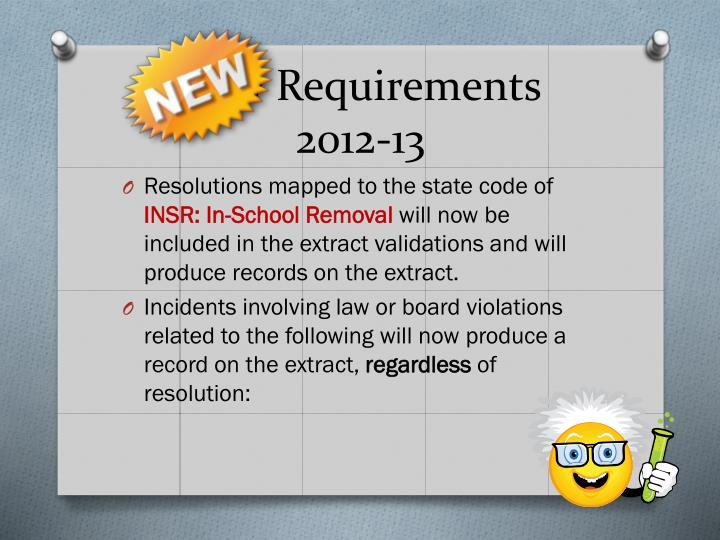 New requirements 2012 13
