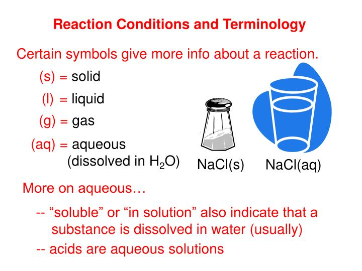 Reaction Conditions and Terminology
