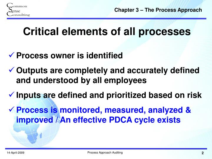 Critical elements of all processes