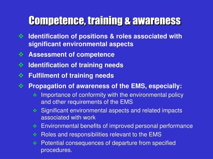 Competence, training & awareness