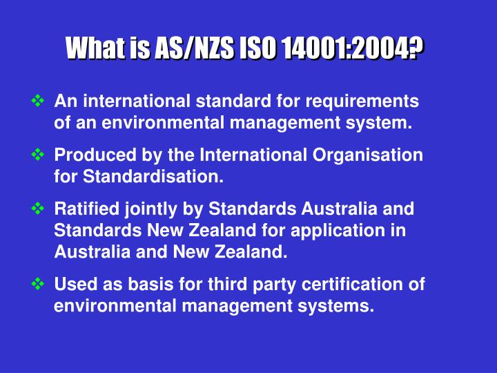 What is AS/NZS ISO 14001:2004?