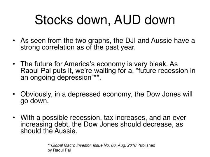 Stocks down, AUD down
