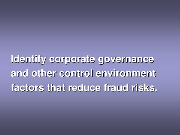 Identify corporate governance
