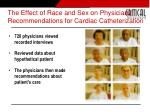 the effect of race and sex on physicians recommendations for cardiac catheterization