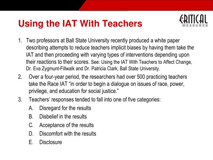 Using the IAT With Teachers