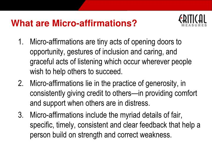 What are Micro-affirmations?