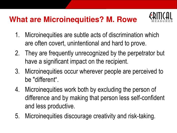 What are Microinequities? M. Rowe
