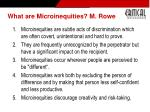 what are microinequities m rowe