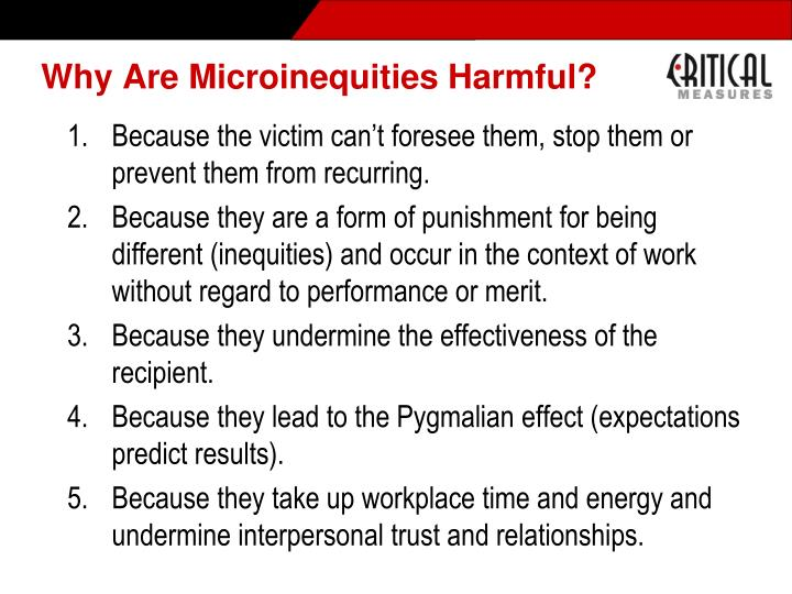 Why Are Microinequities Harmful?