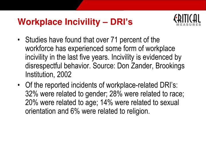 Workplace Incivility – DRI's